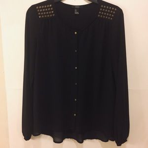 3/$15 Forever 21 Black Sheer Blouse Size S